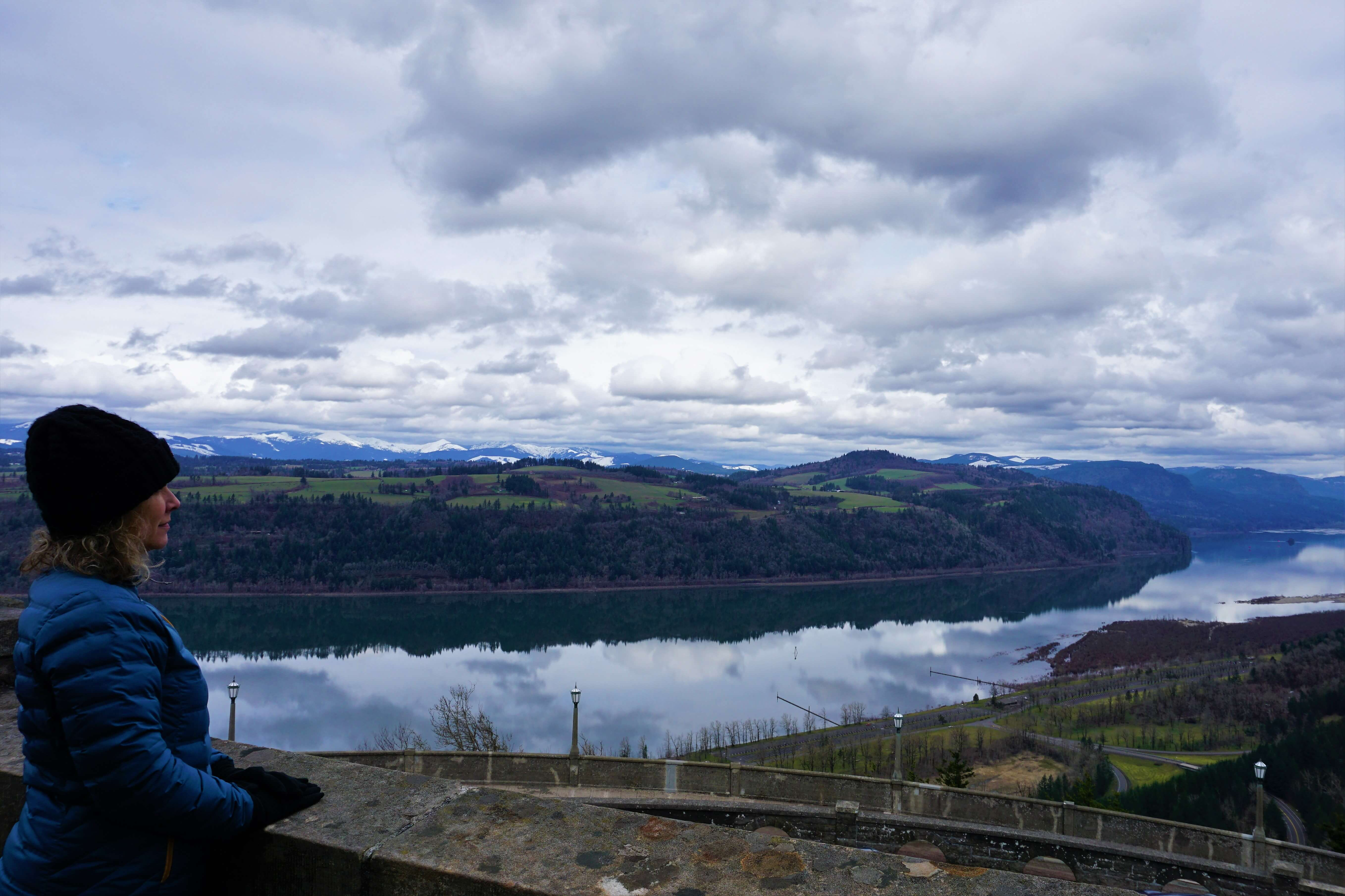 Wendy enjoying the Crown Point Overlook in Columbia River Gorge