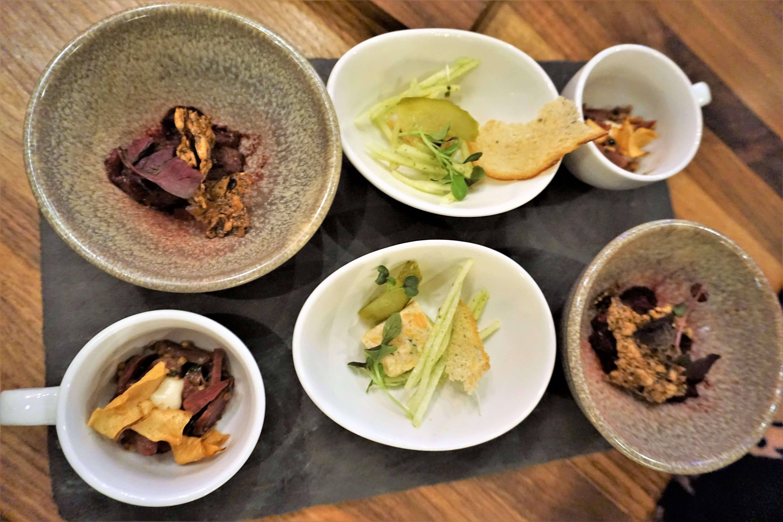 First course of tasting menu served at Restaurant Legende in Quebec City