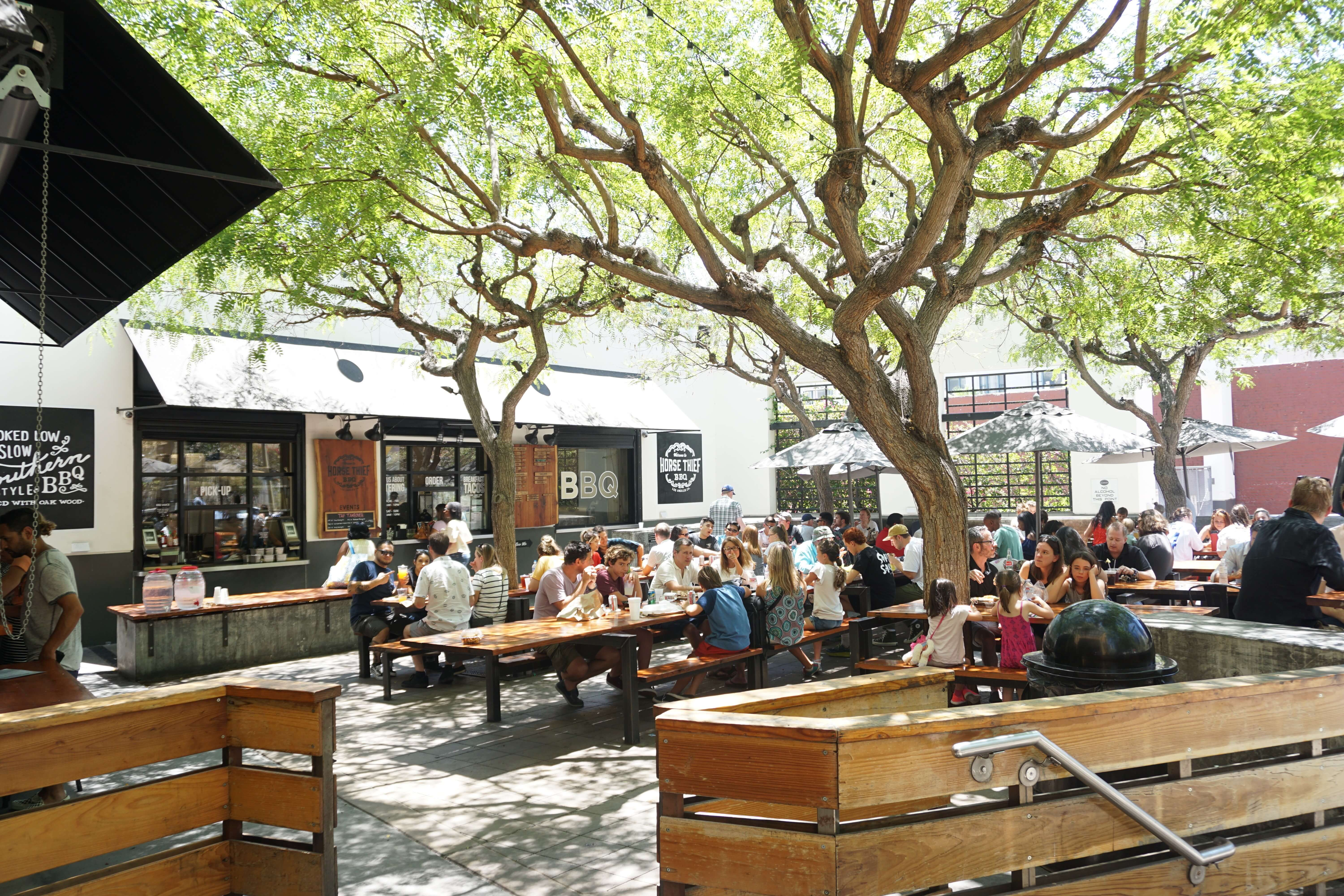 A view of the patio seating at Horse Thief BBQ next to Grand Central Market in Los Angeles