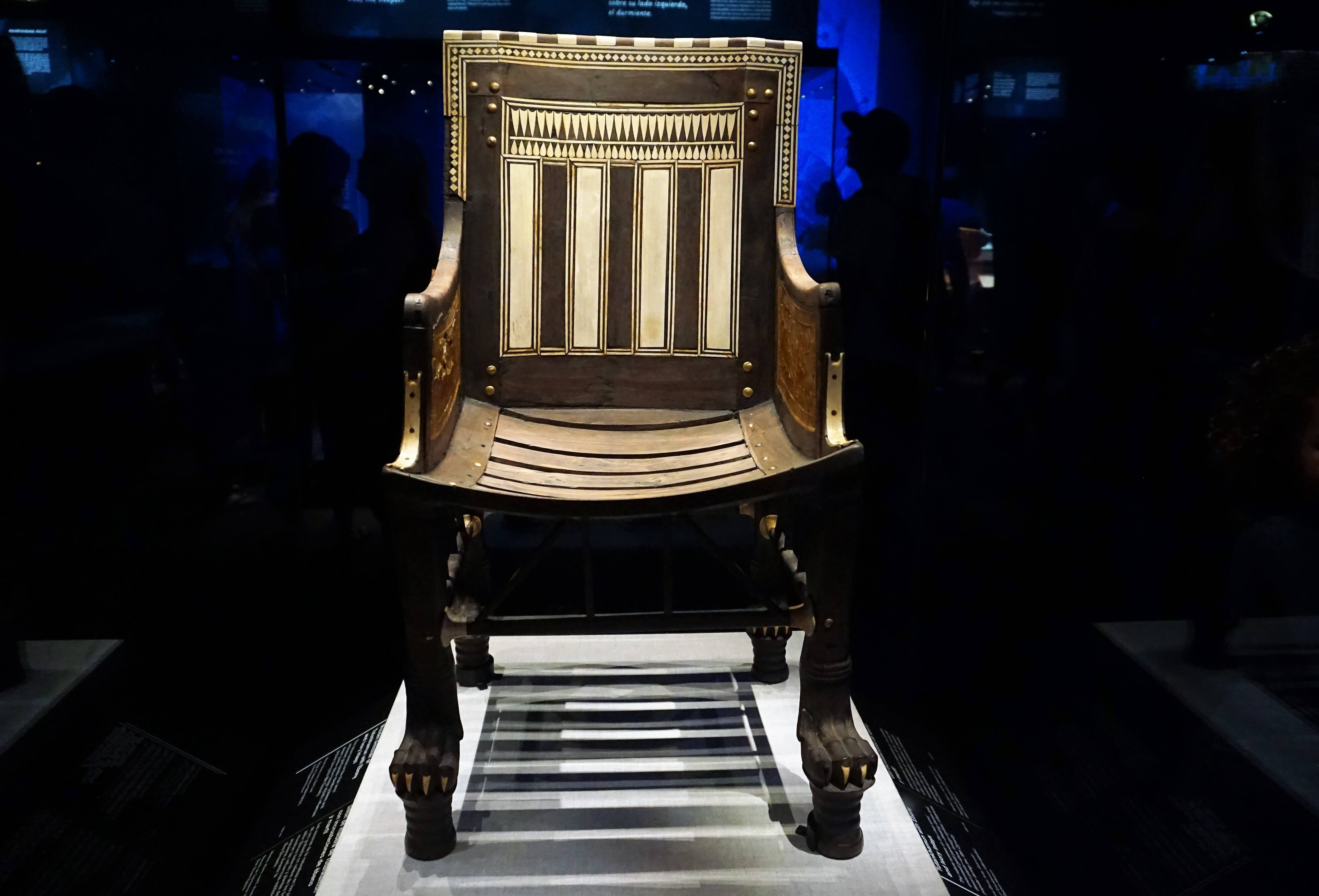 King Tut's chair displayed at California Science Center Los Angeles