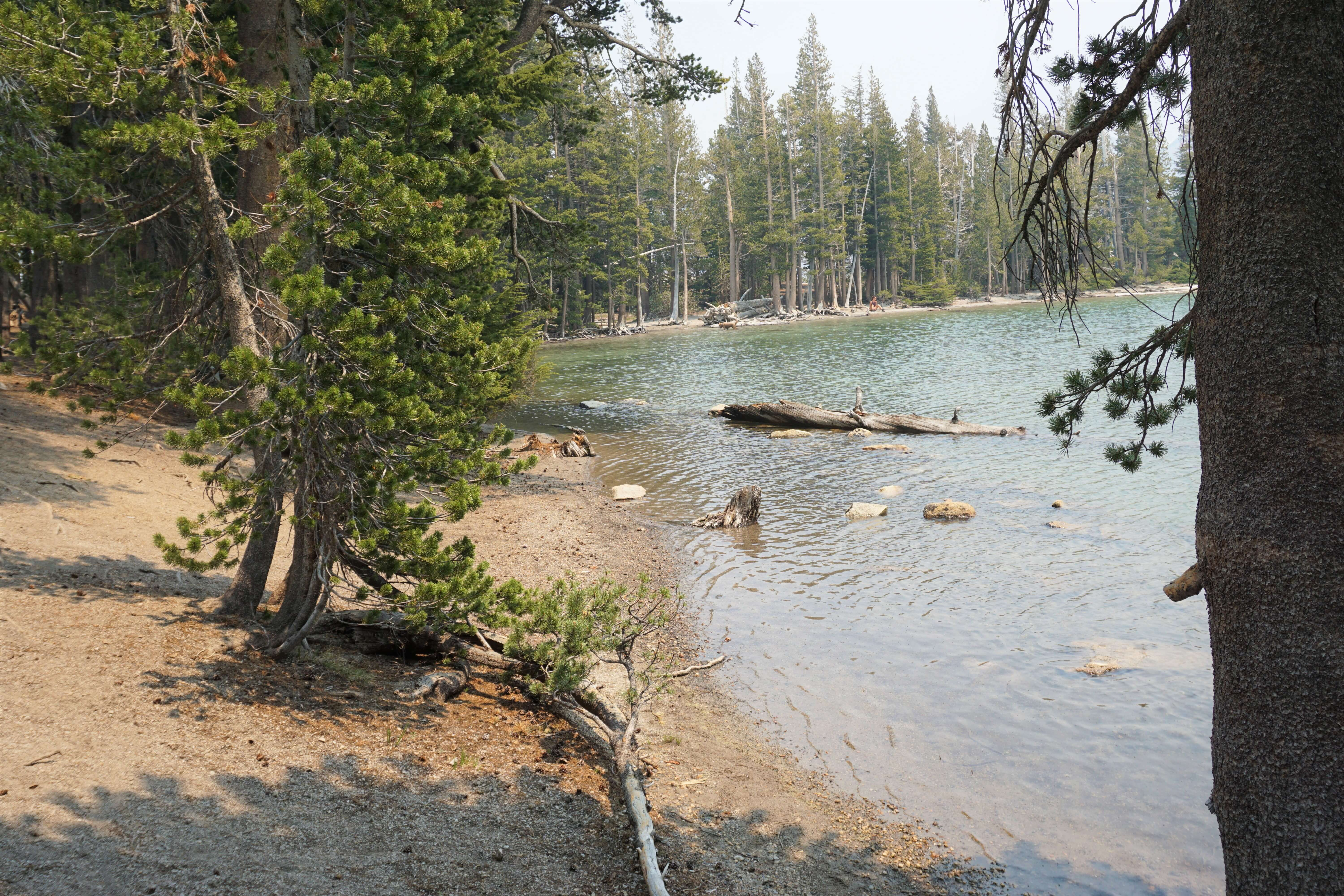 Mammoth Lakes hiking--our lunch spot along the shores of McLeod Lake