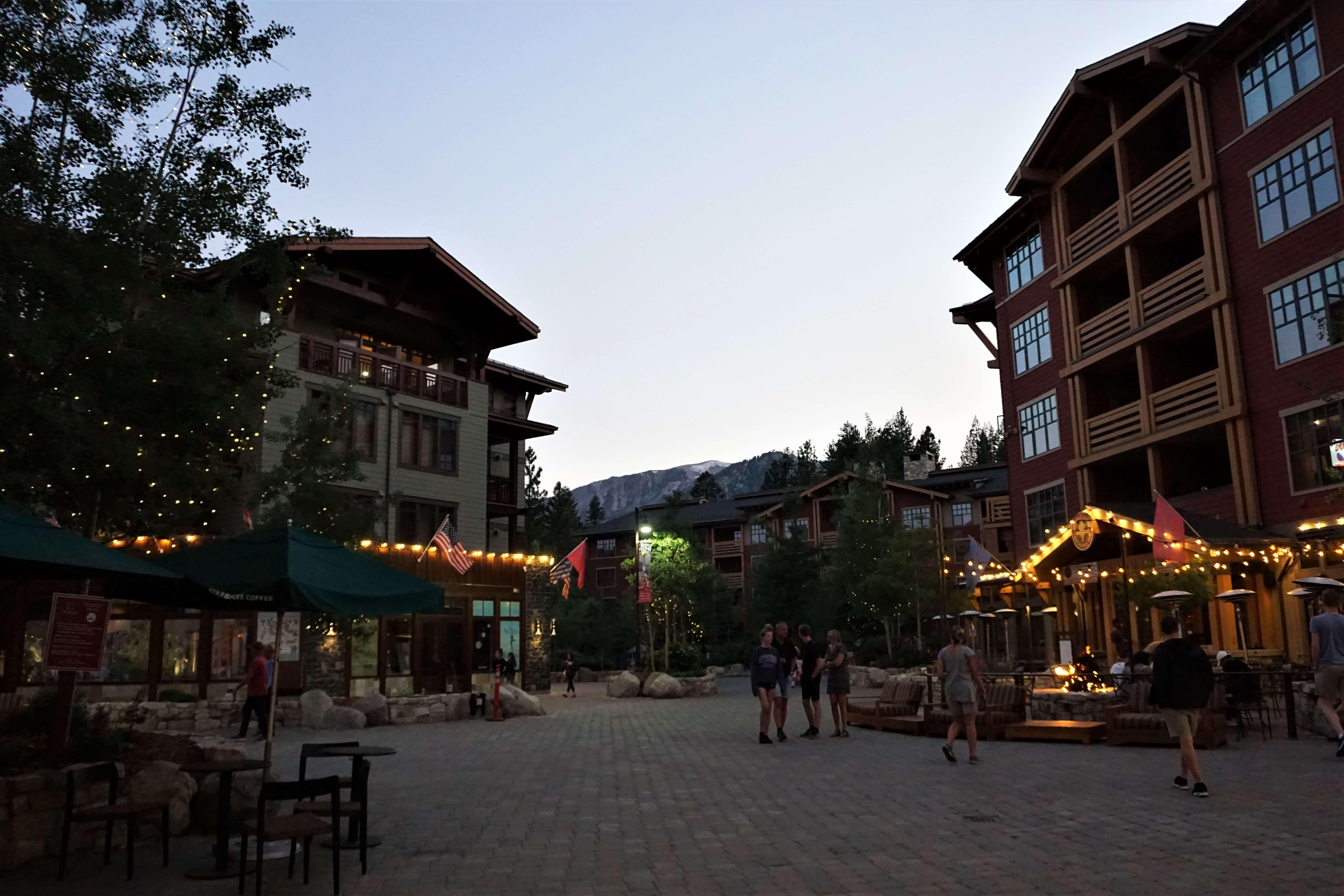 The Village Lodge at night