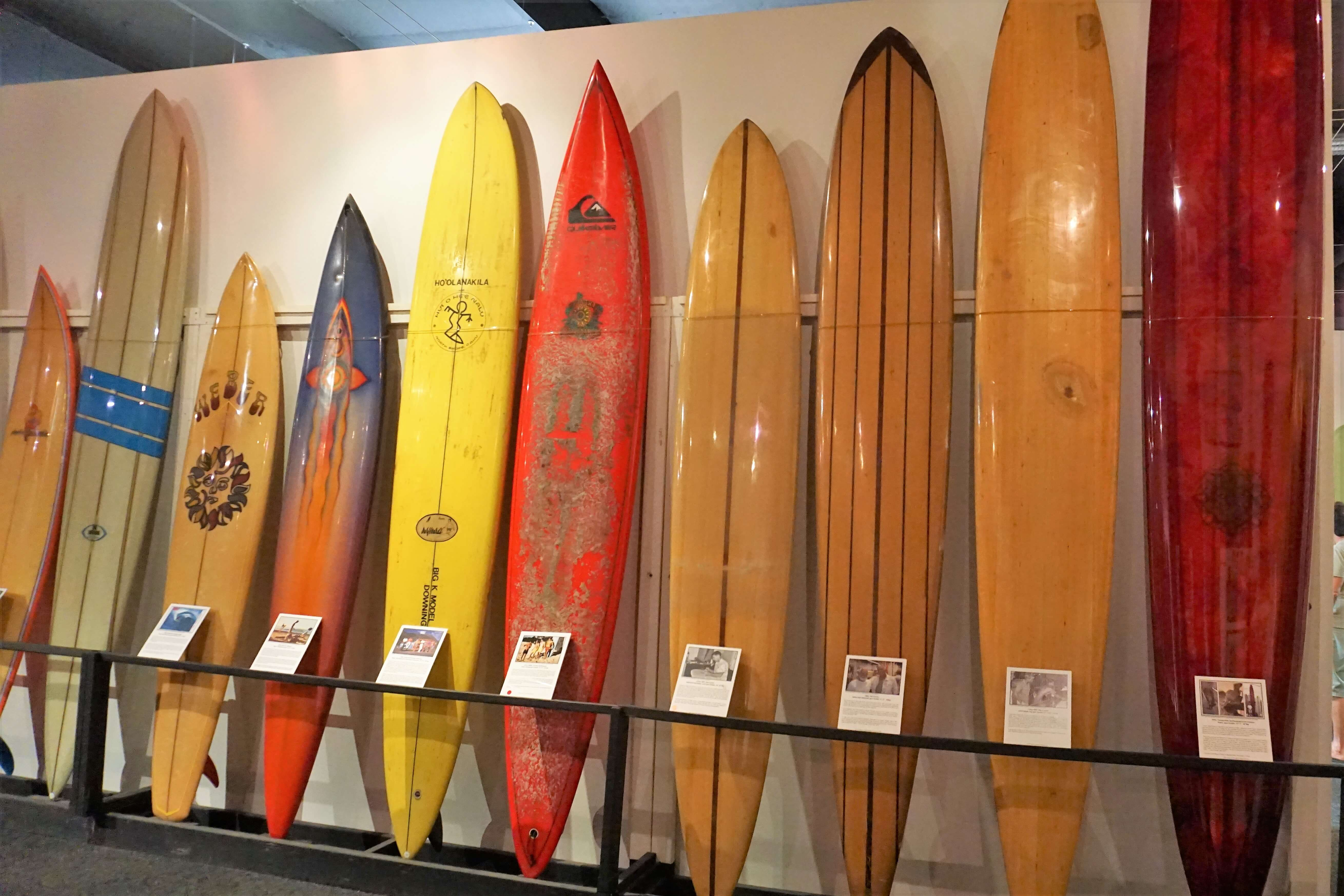 A collection of surfboards at the Surfing Heritage and Culture Center