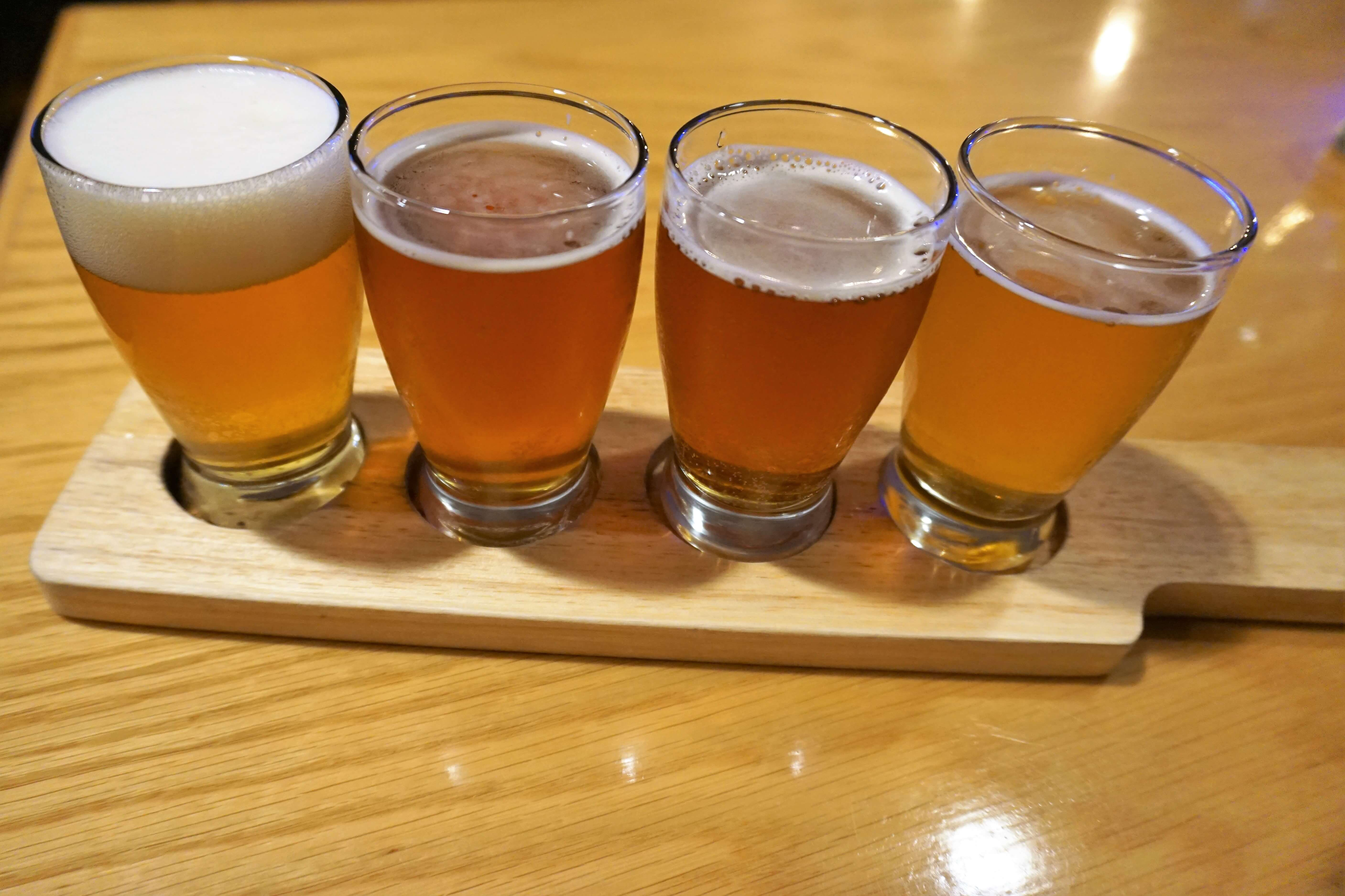 Four local beer samples at Carey's Brew House in Corning New York