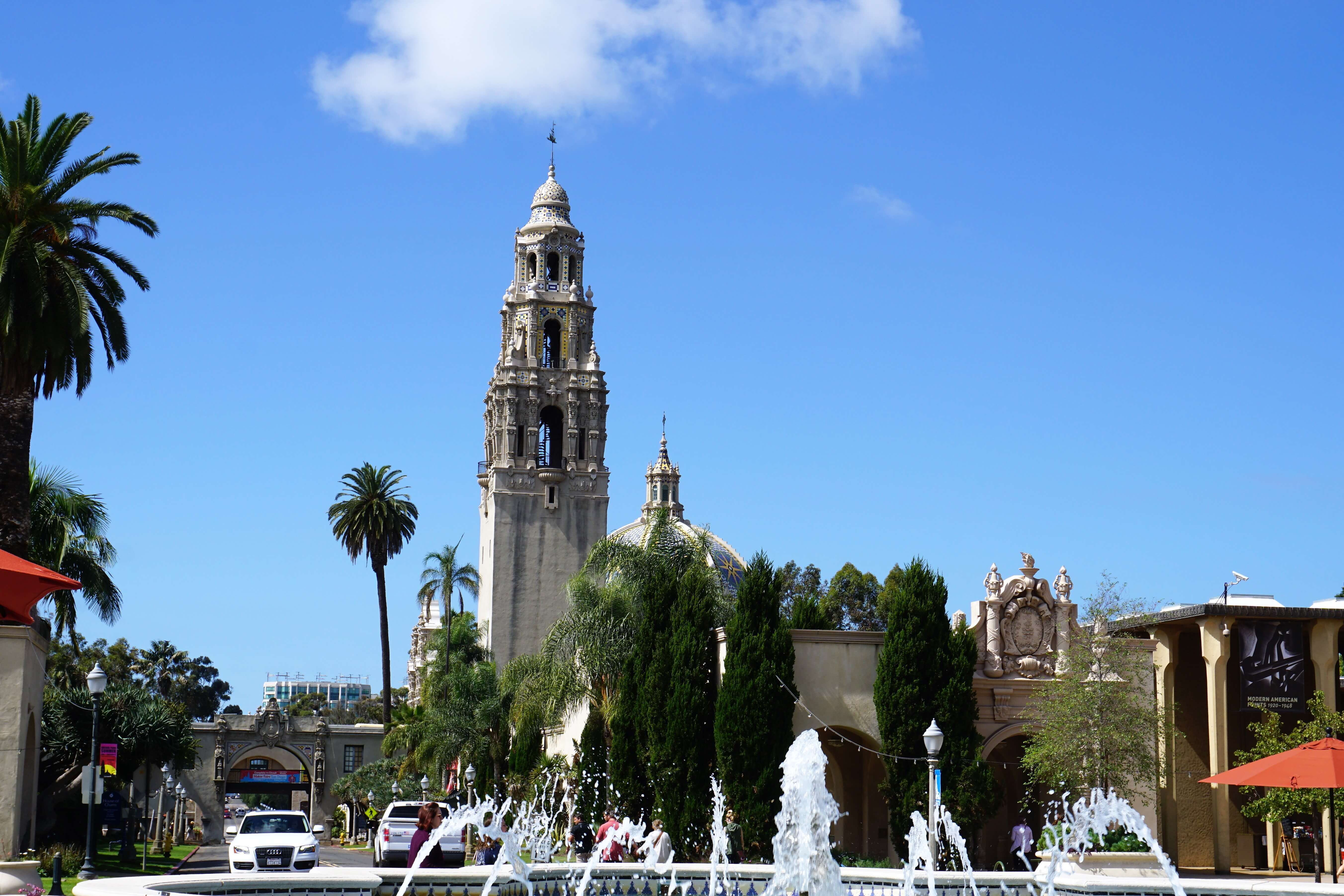 Center of Balboa Park, a fountain and view of Museum of Man