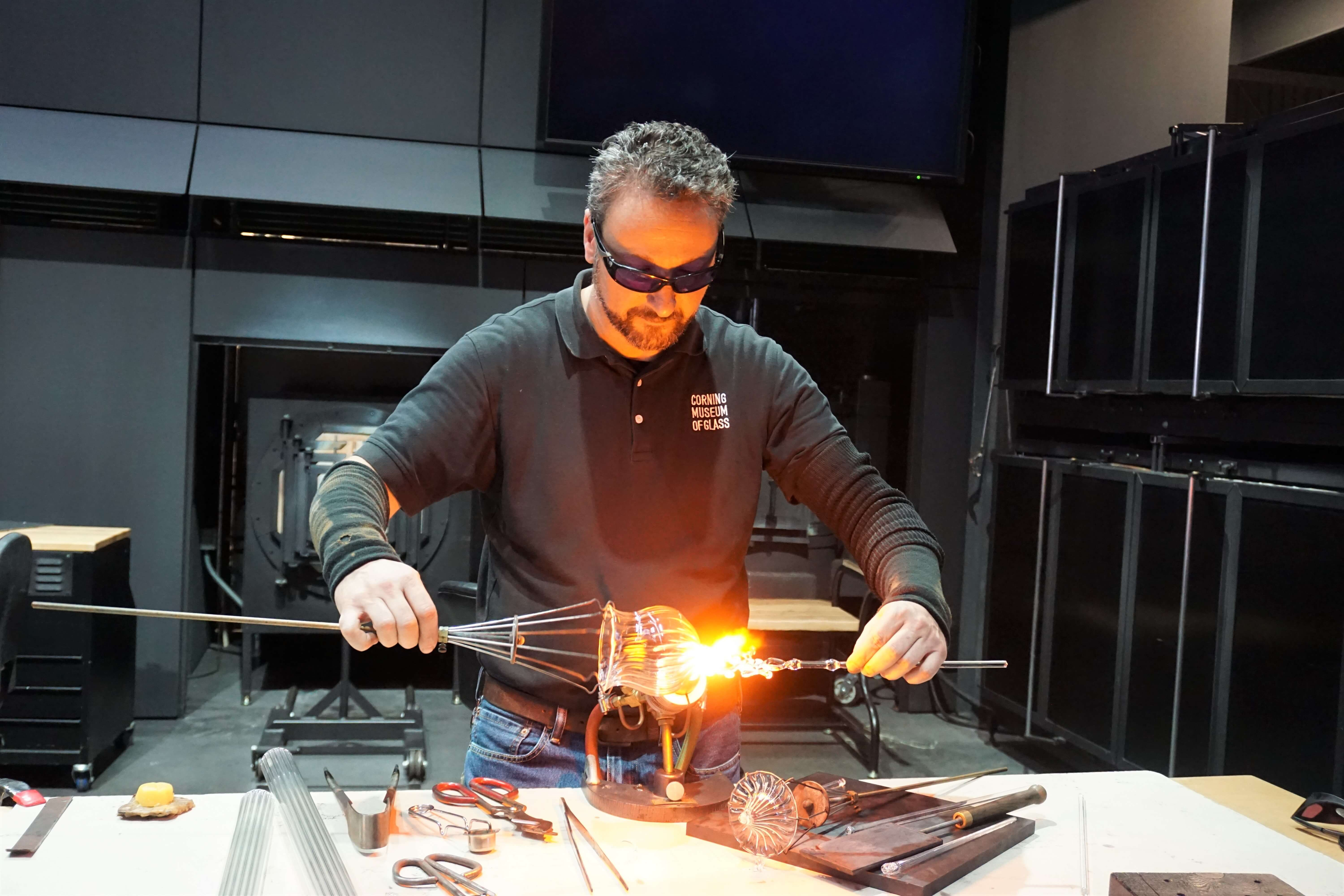 Flameworking demonstration at the Corning Museum of Glass in New York