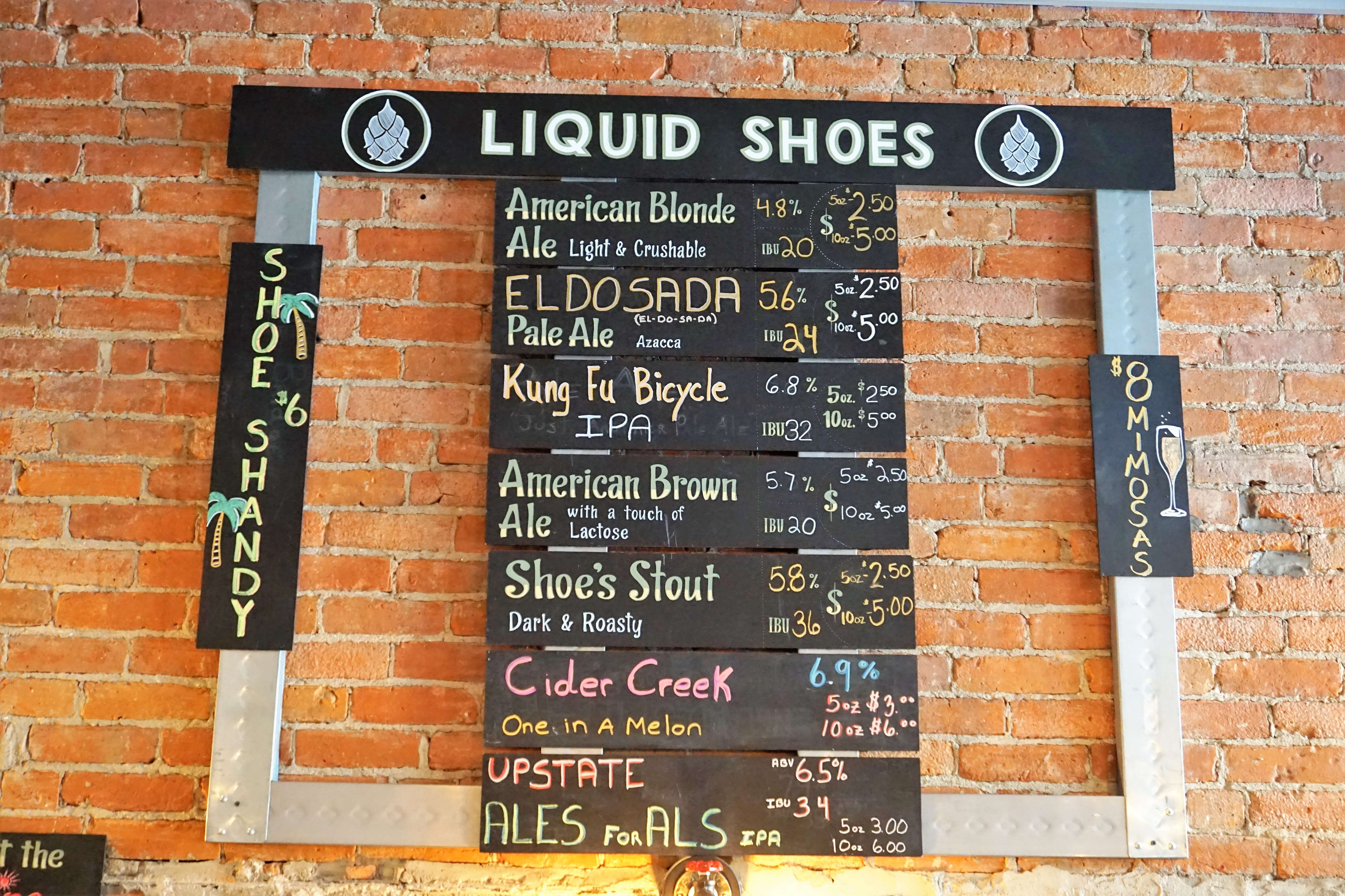 Liquid Shoes Brewing beer list