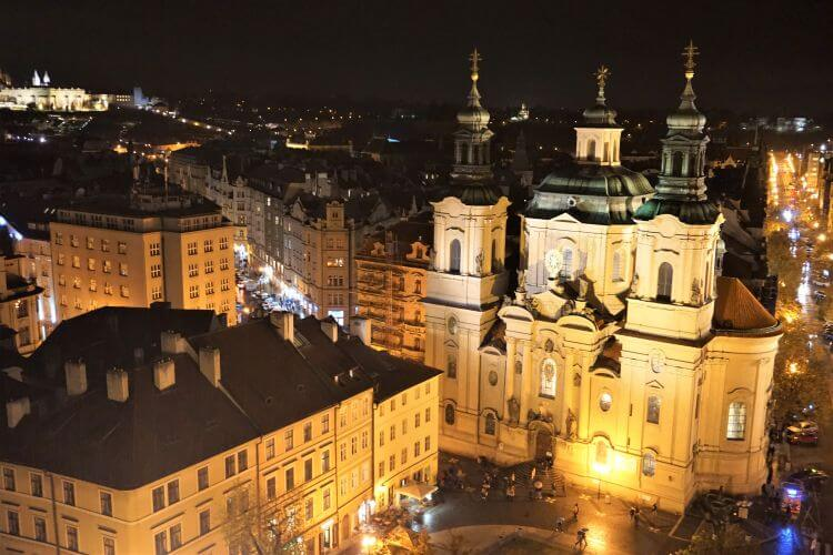 View of St. Nicholas Church Prague from the Old Town Hall Tower