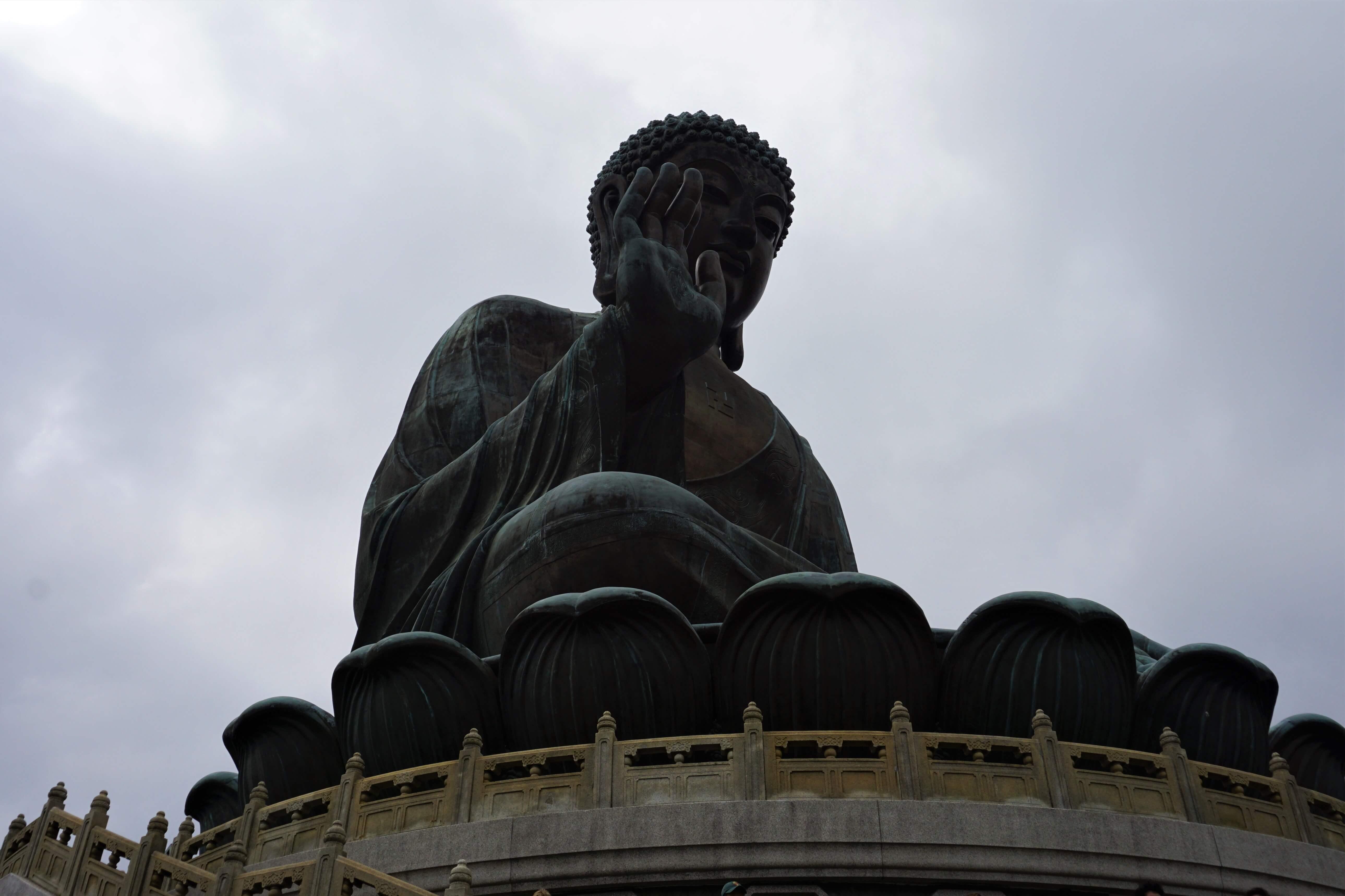 Close-up of the Giant Buddha on Lantau Island