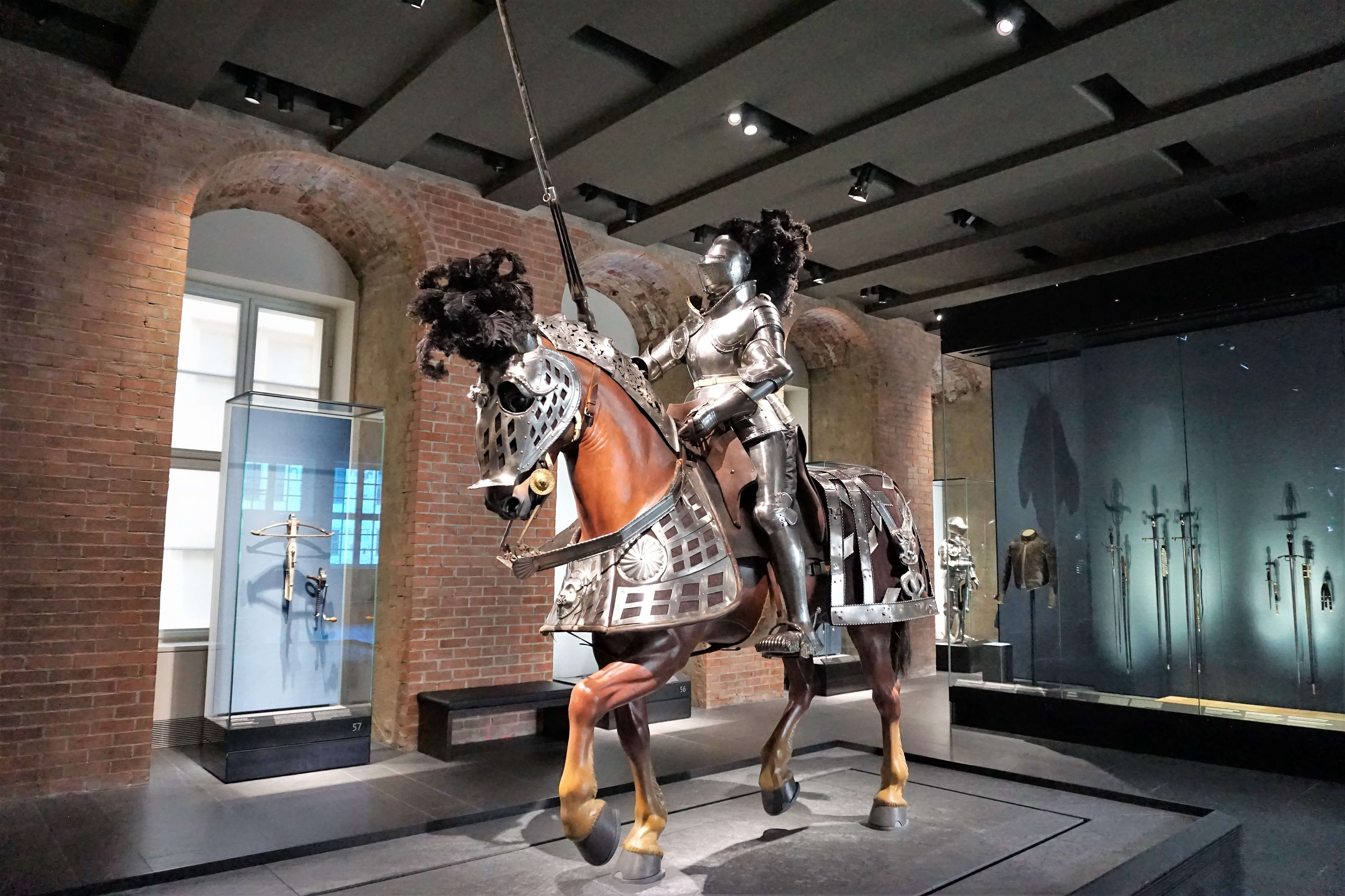 Suit of armor for a horse and man displayed at the Royal Palace in Dresden