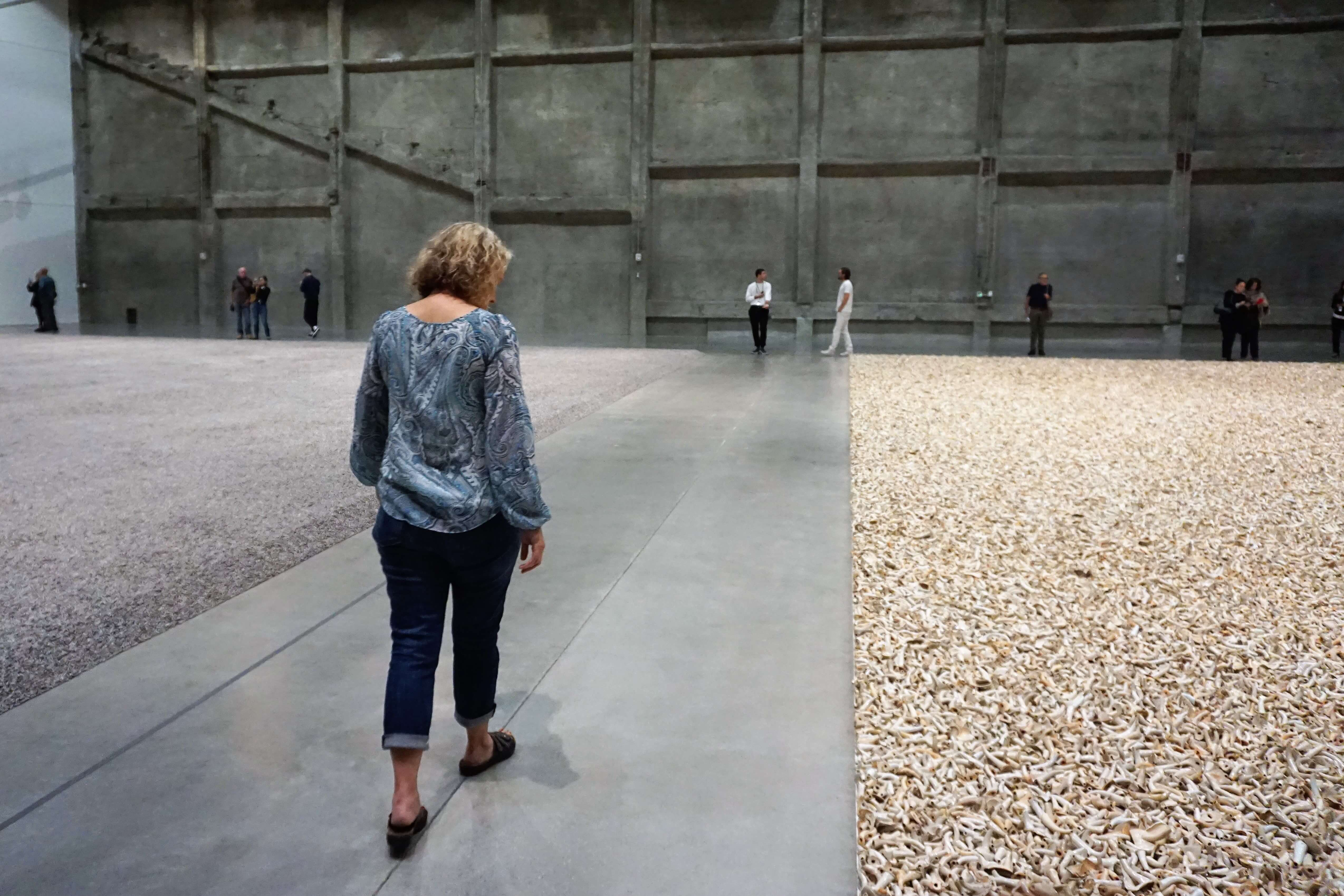 Wendy walking between two Ai Wei Wei installations at MAF