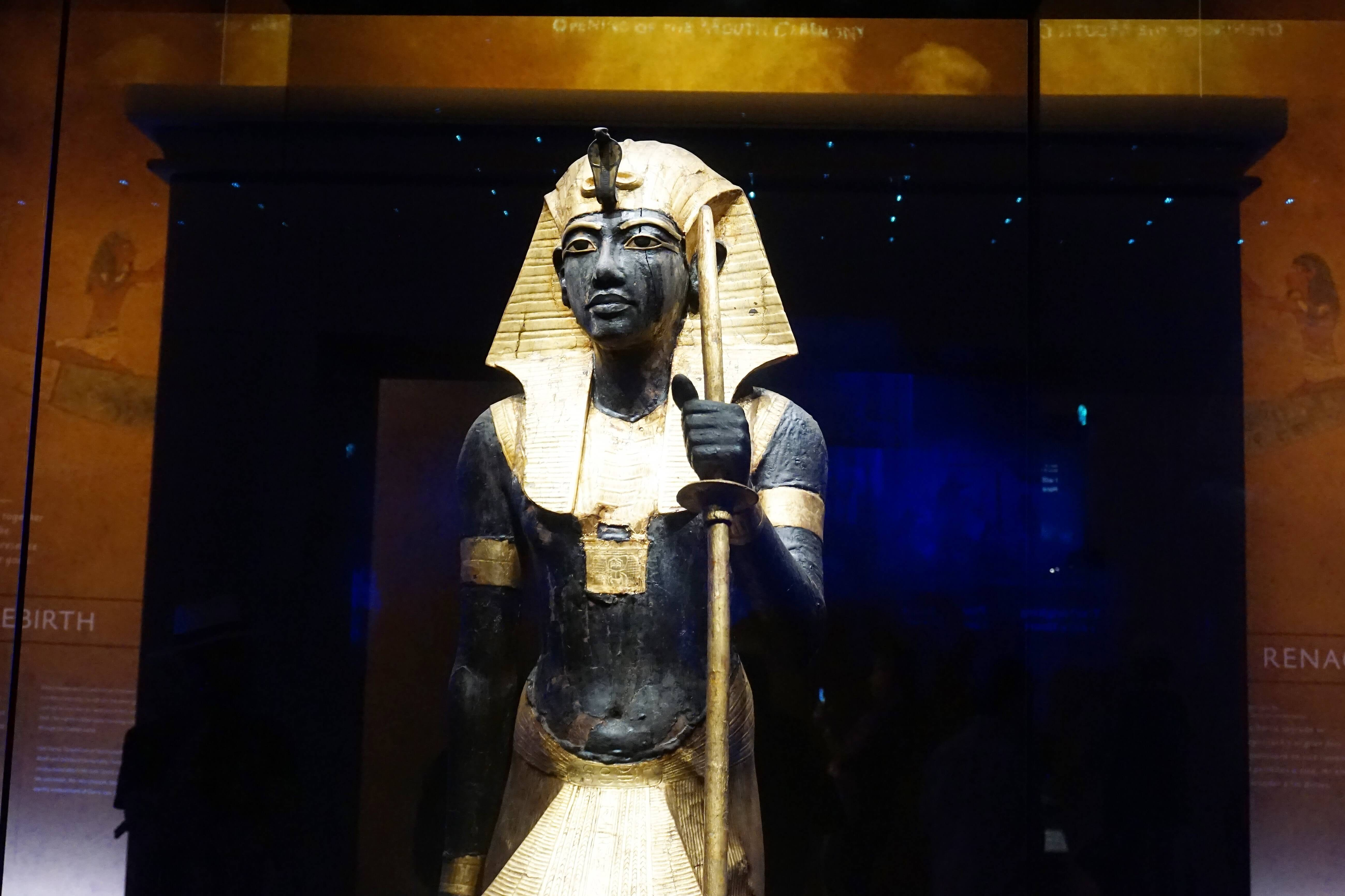 Wooden Guardian statue displayed at the King Tut exhibit
