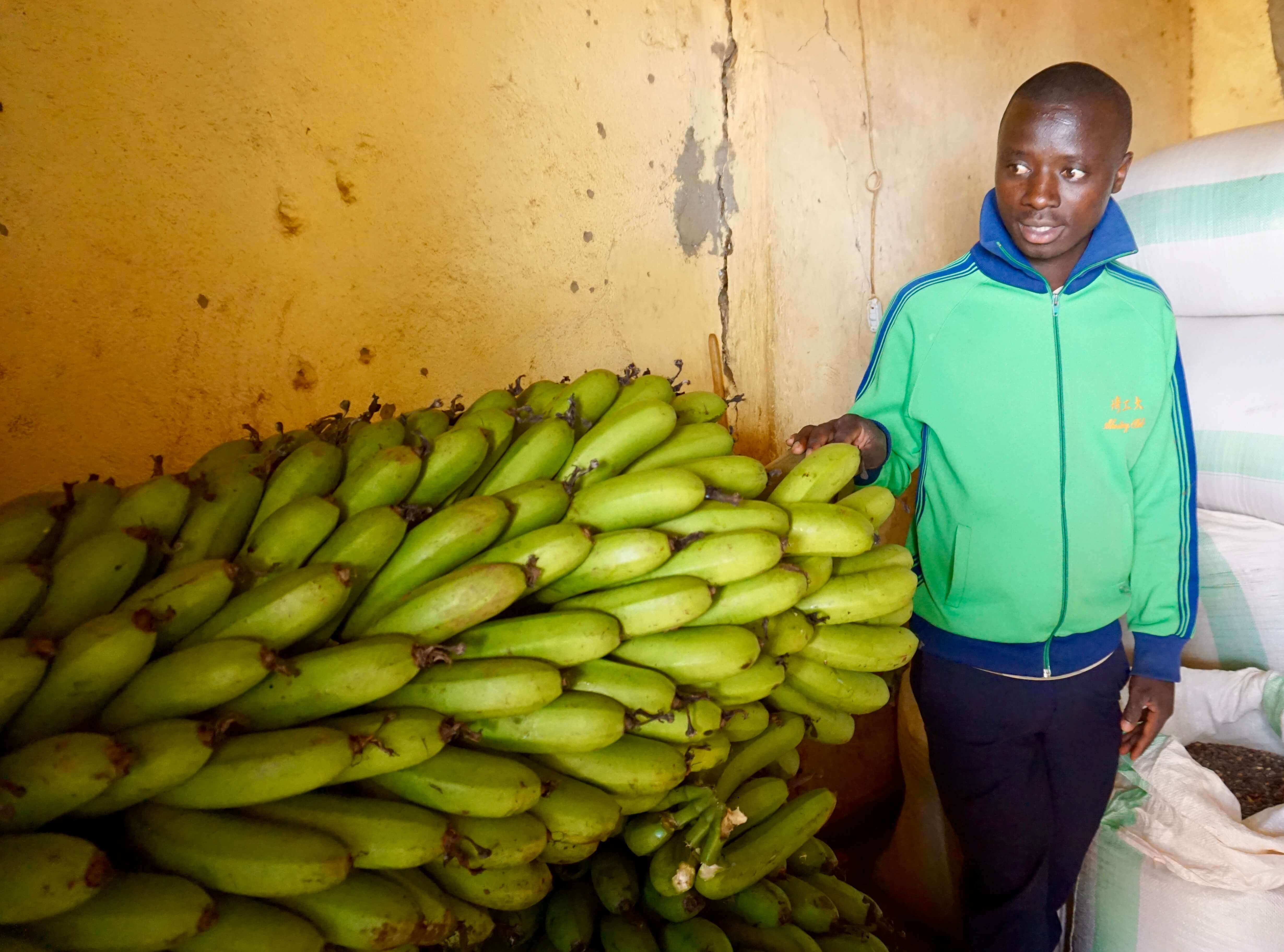 Daniel, a graduate of the Zoe program, grows and sells green bananas