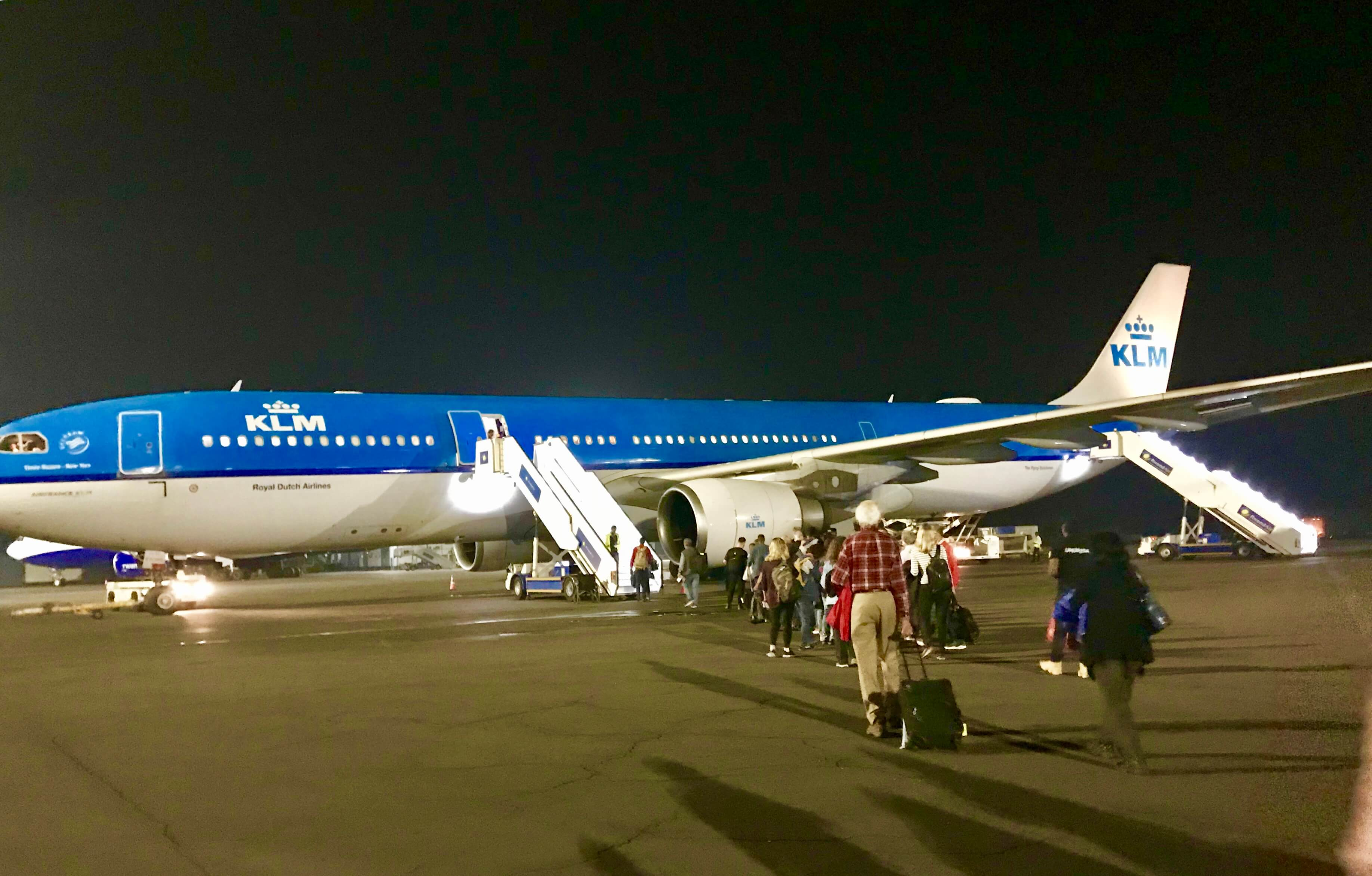 Boarding our KLM flight at Kigali International Airport