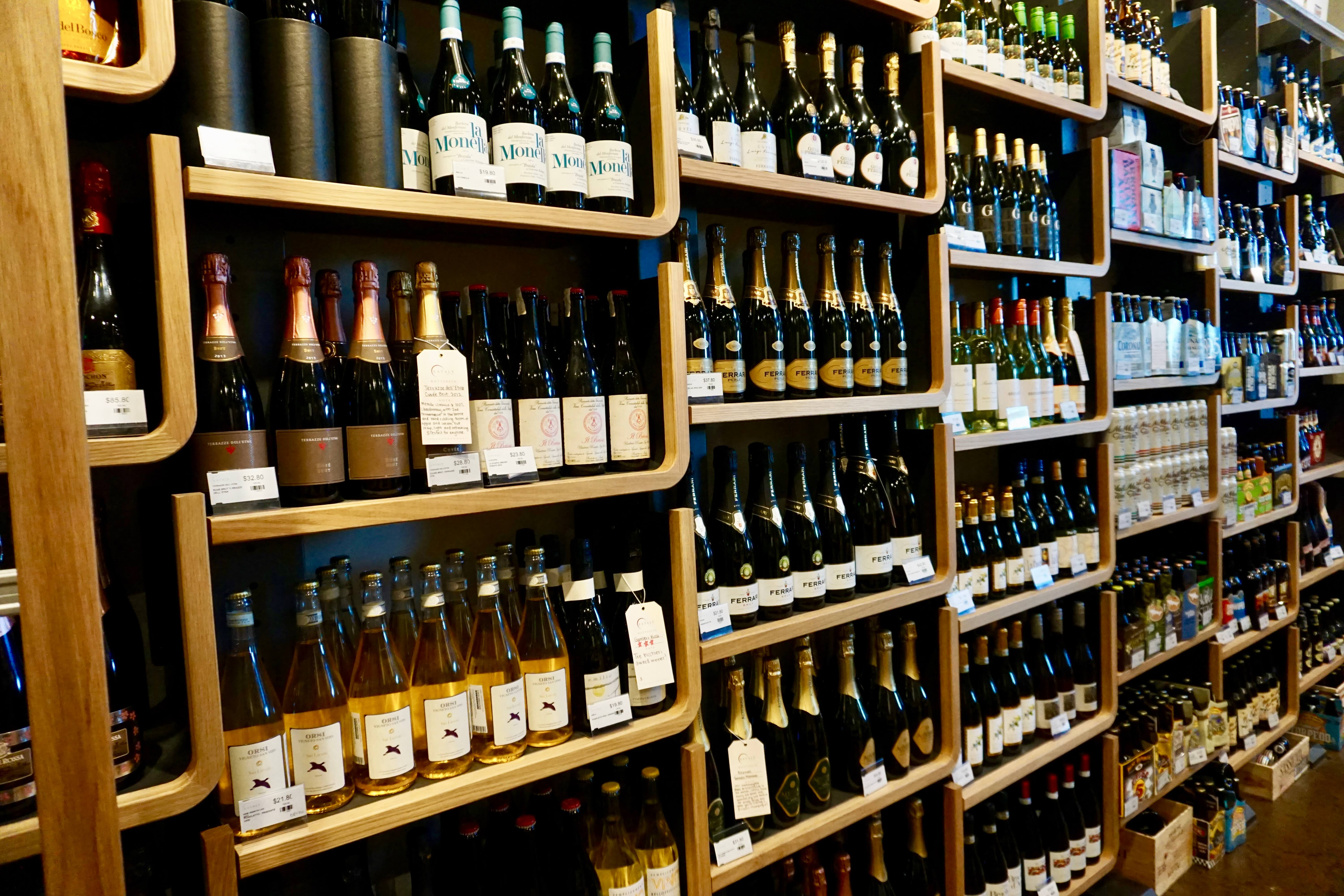 Wine selection at Eataly Las Vegas