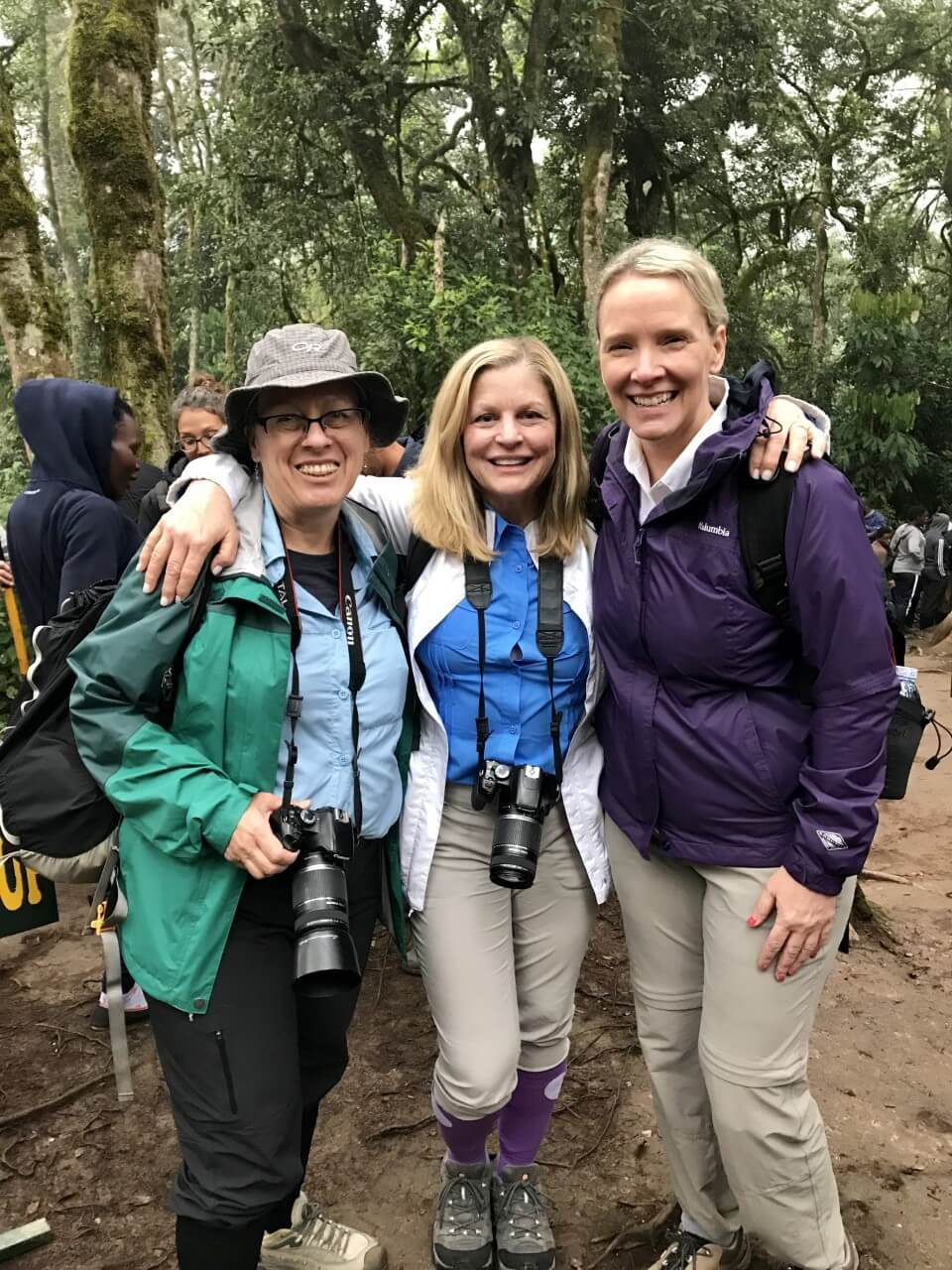 Jeanie, Cheryl and Wendy at the starting point for the mountain gorilla trek in Uganda