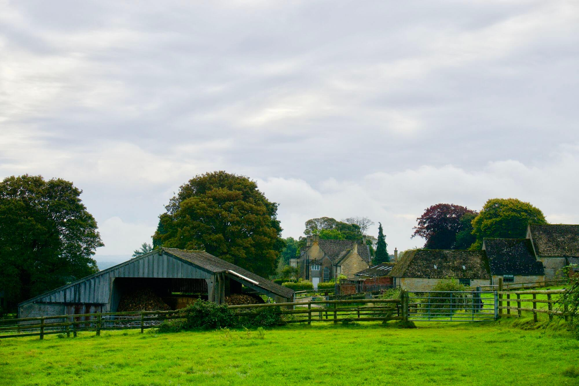 Farms and homes just outside of Moreton-in-Marsh