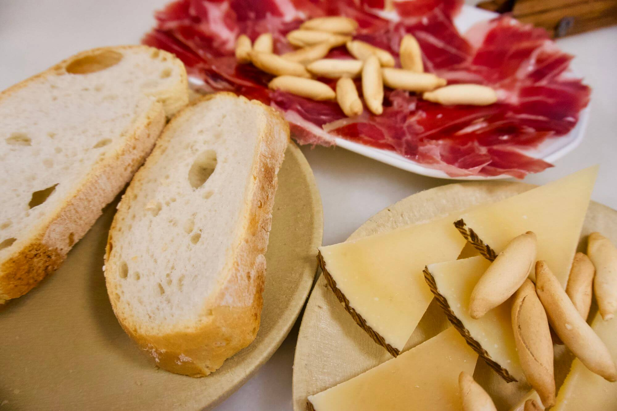 Tapas--cheese, jamon and bread