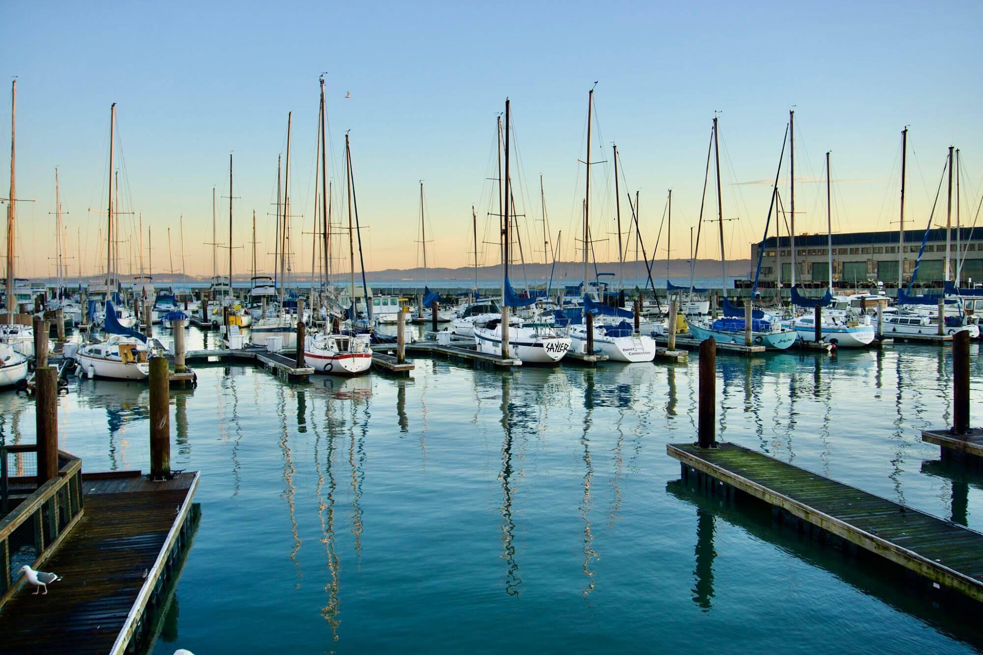 Boats docked in San Francisco Bay