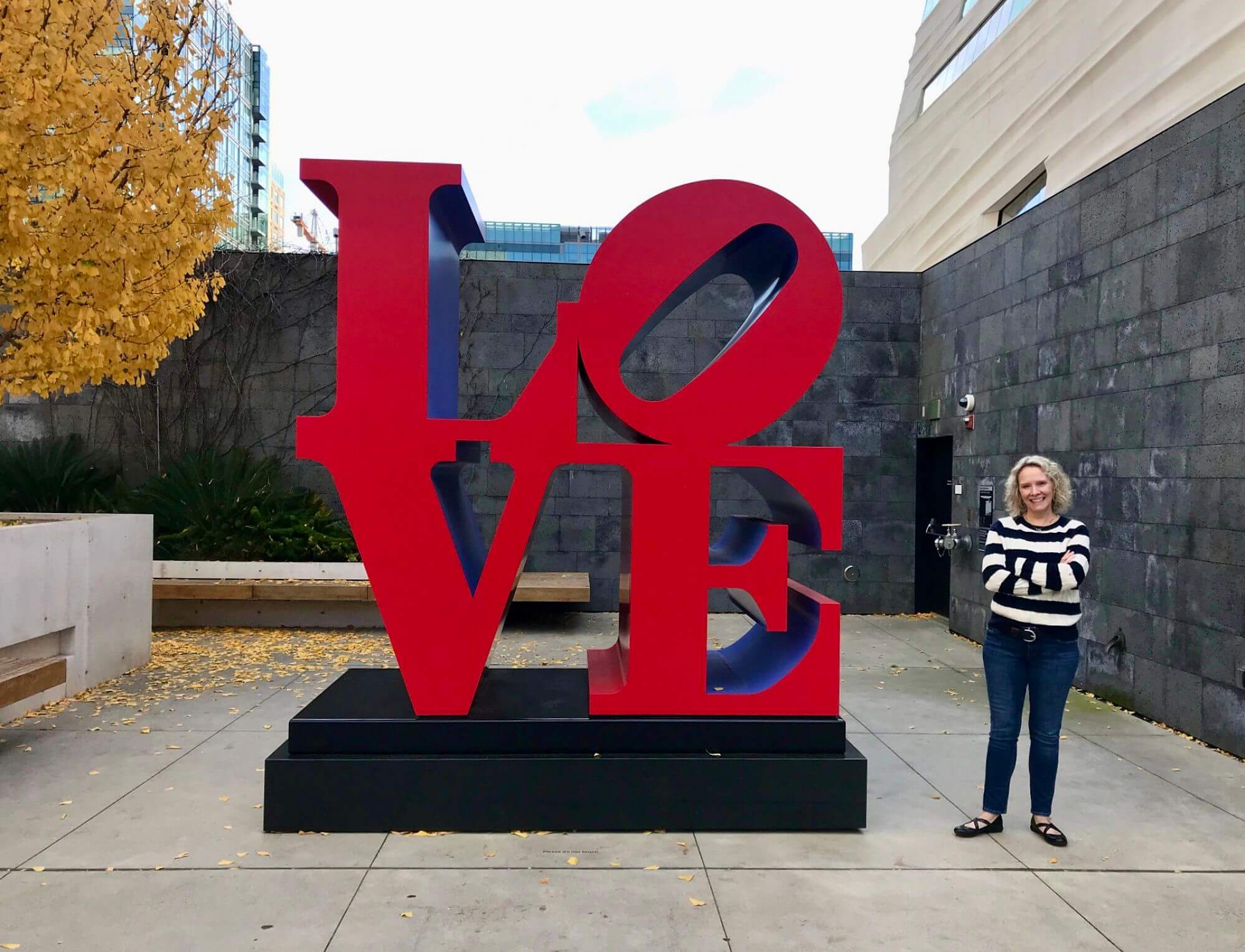 Wendy posing next to Love sculpture at SFMOMA
