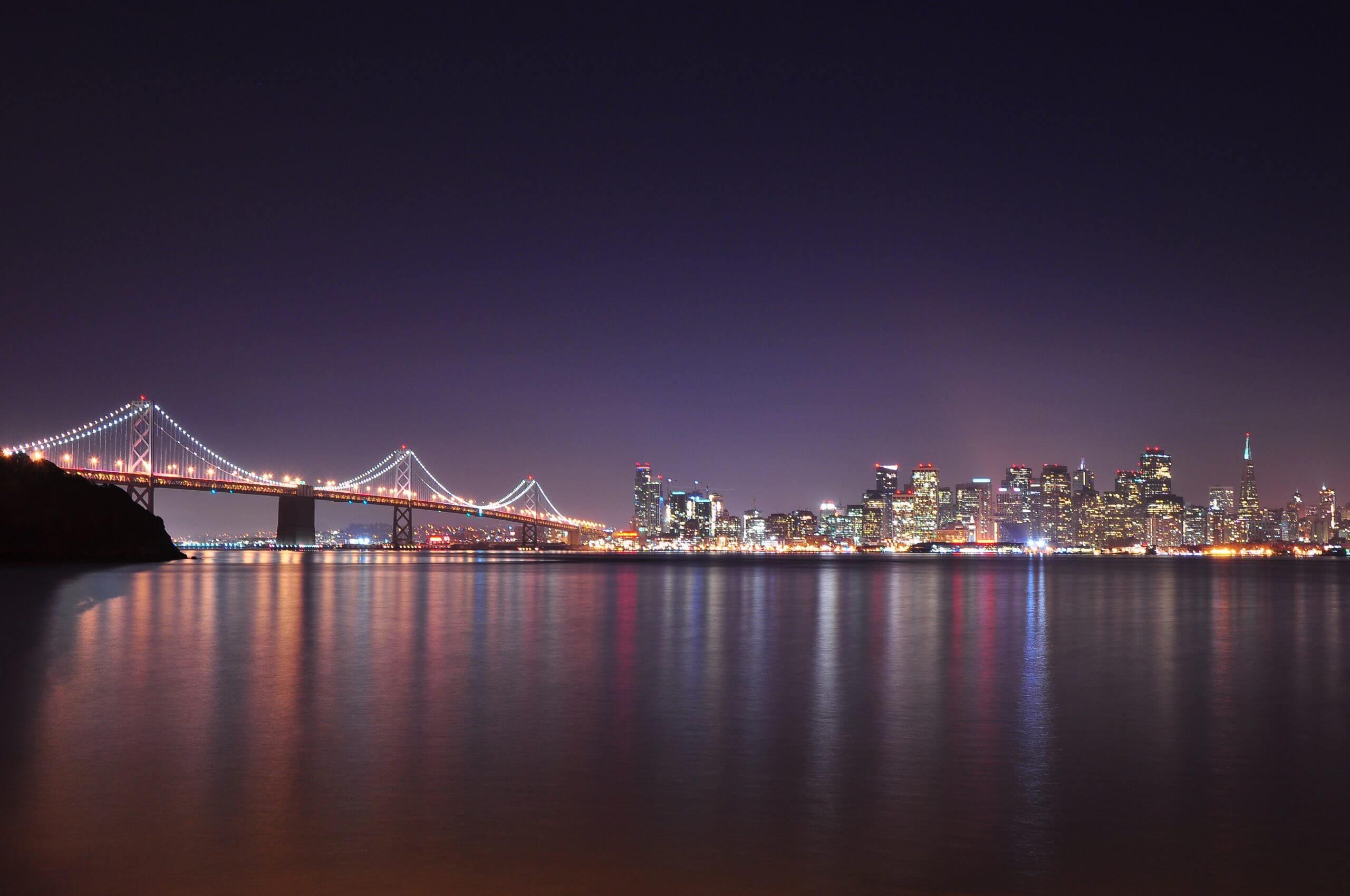 Bay Bridge and San Francisco skyline at night
