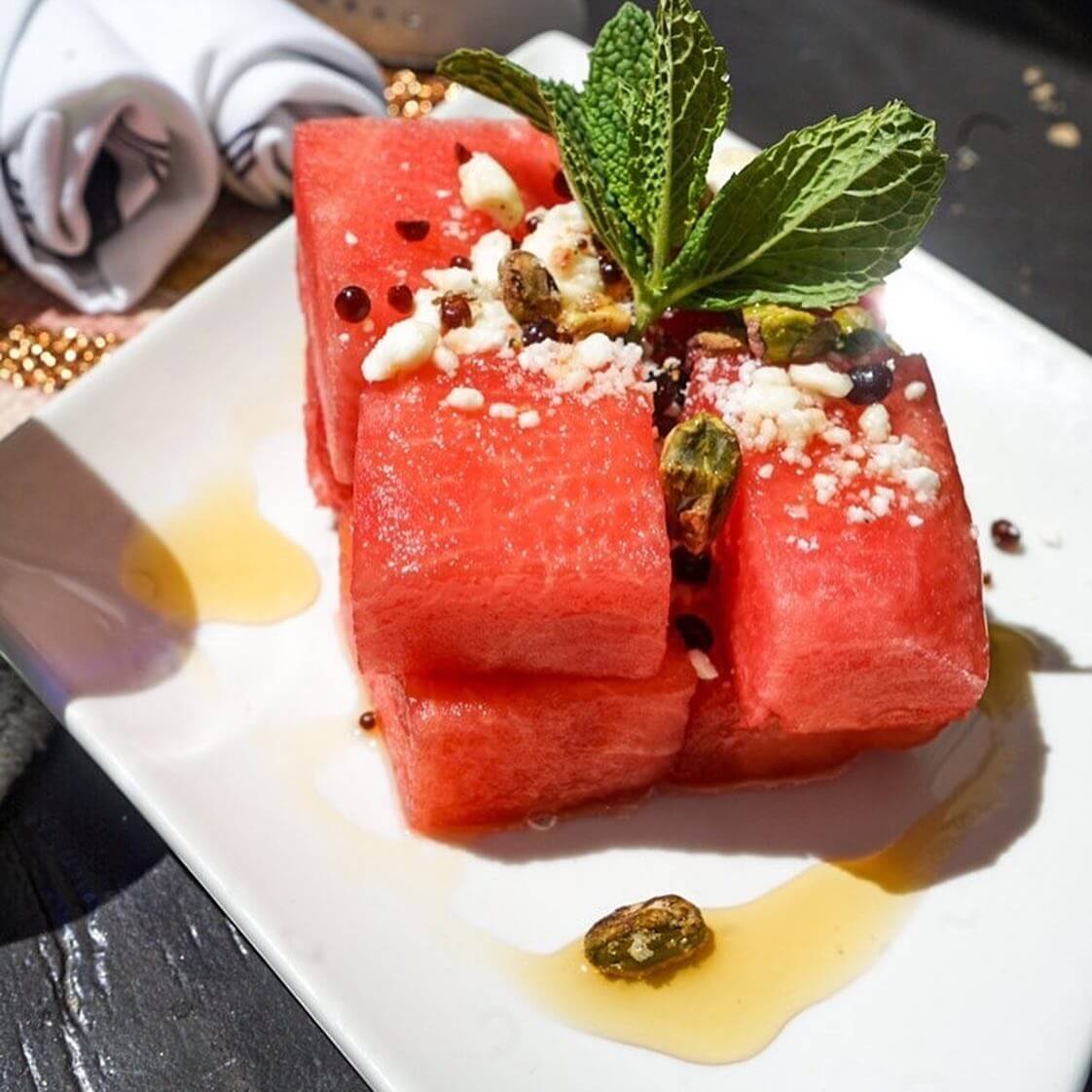 Watermelon salad at Azucar Palm Springs