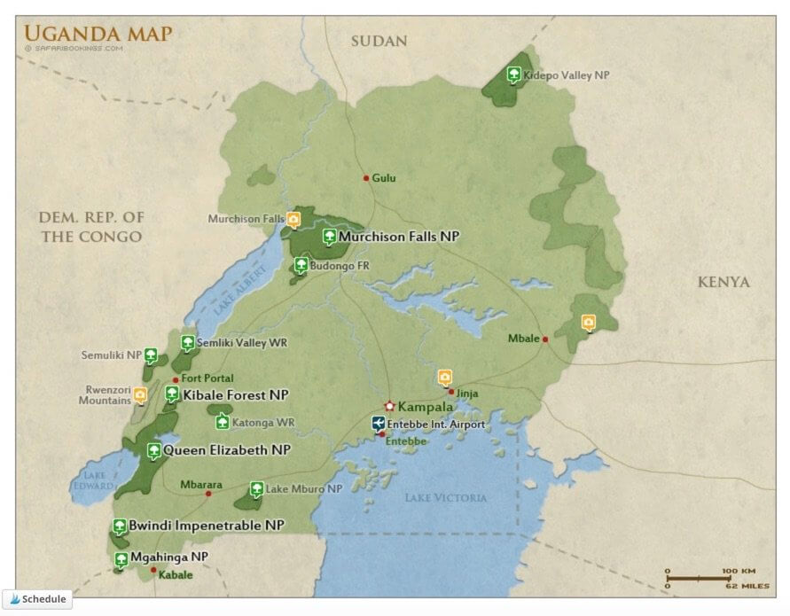 Map of Uganda and its national parks