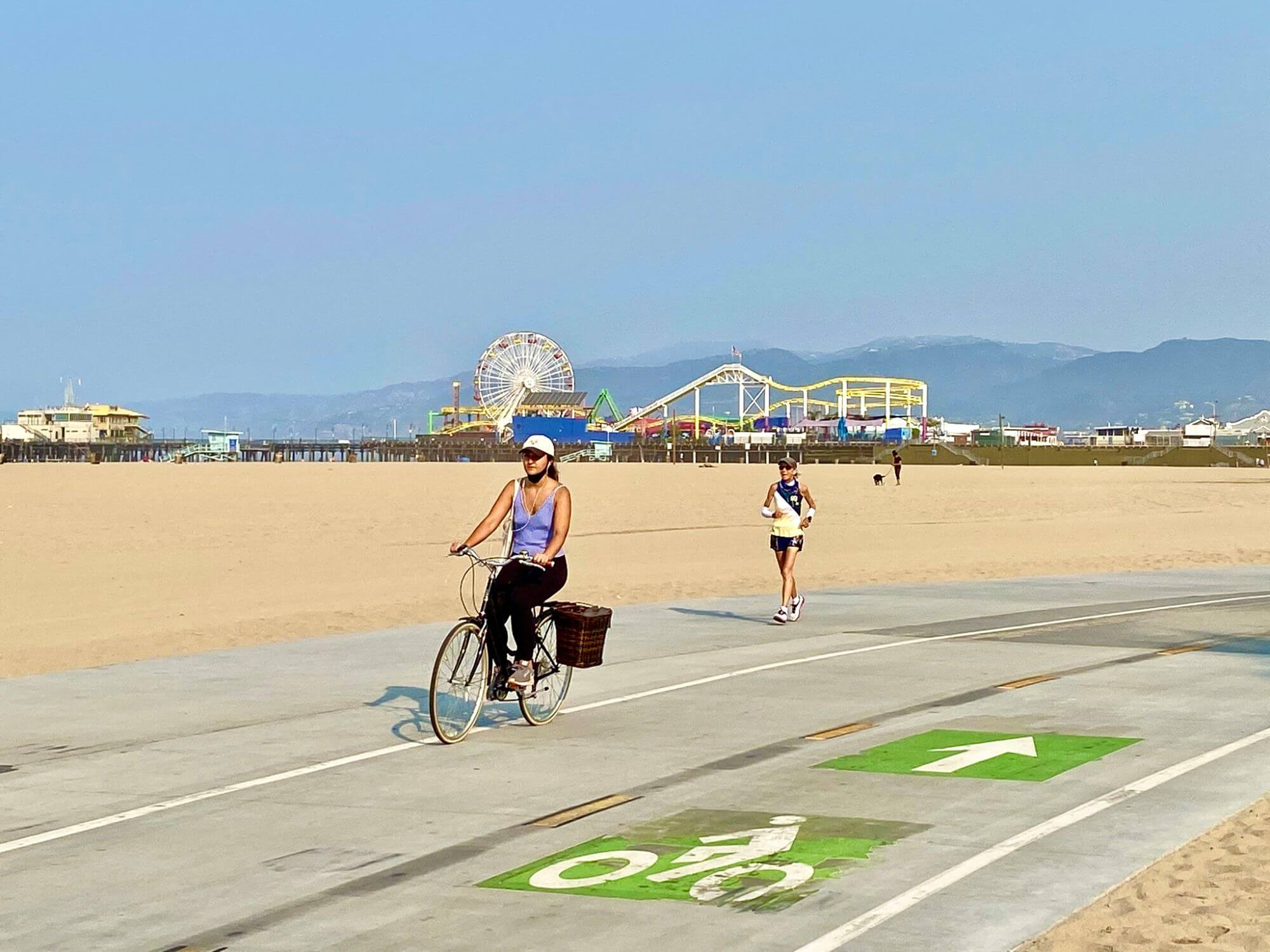 Biking along the Strand in Santa Monica