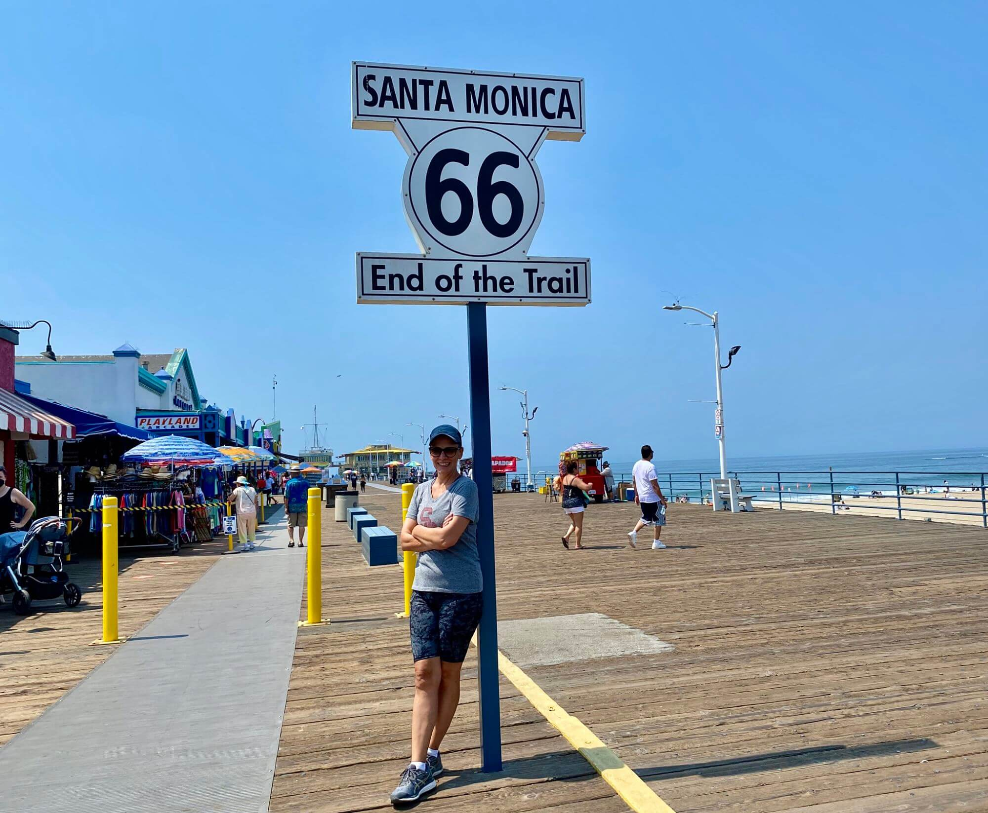 Route 66 sign on Santa Monica Pier