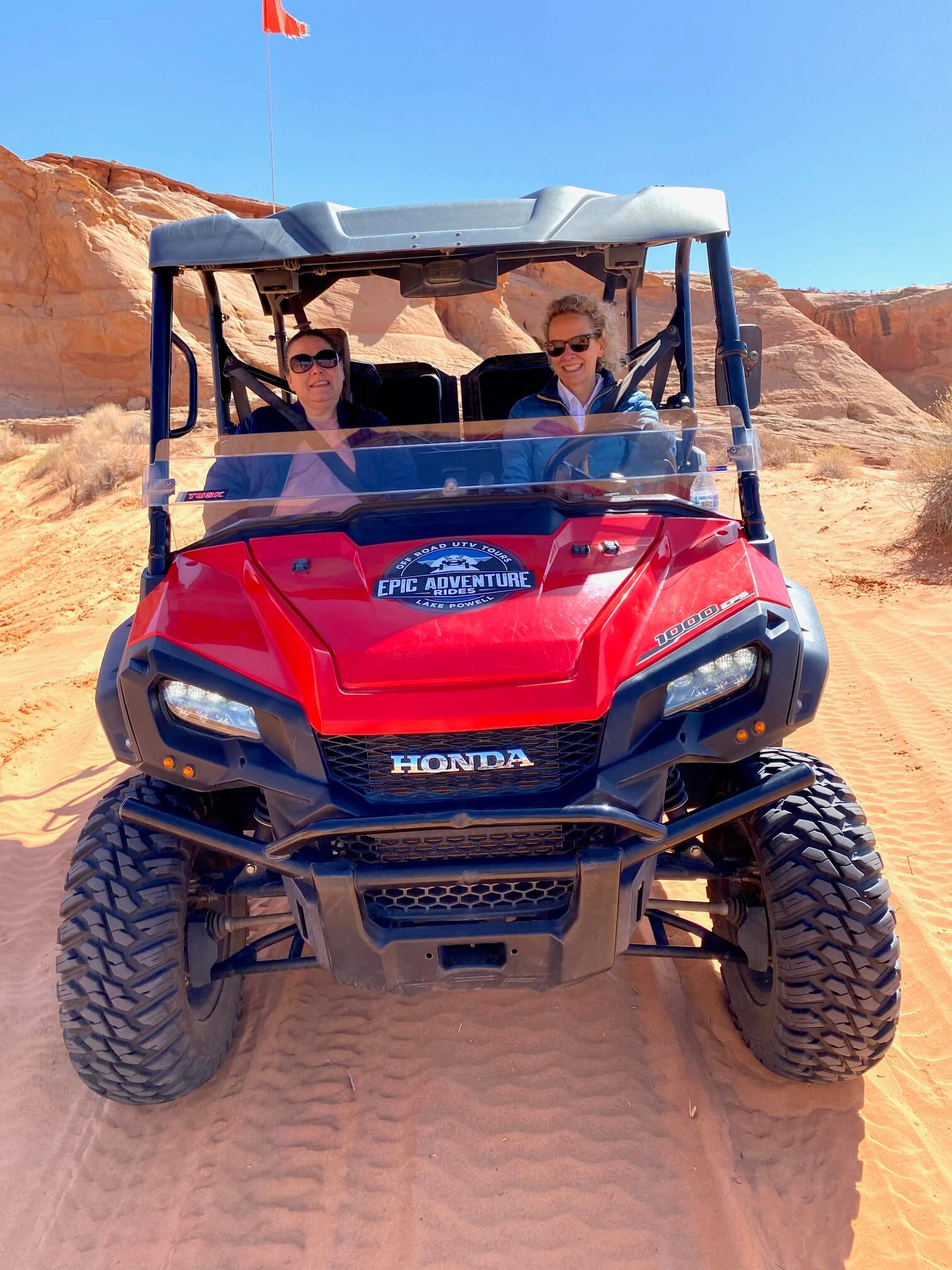 Wendy and Beth in a UTV