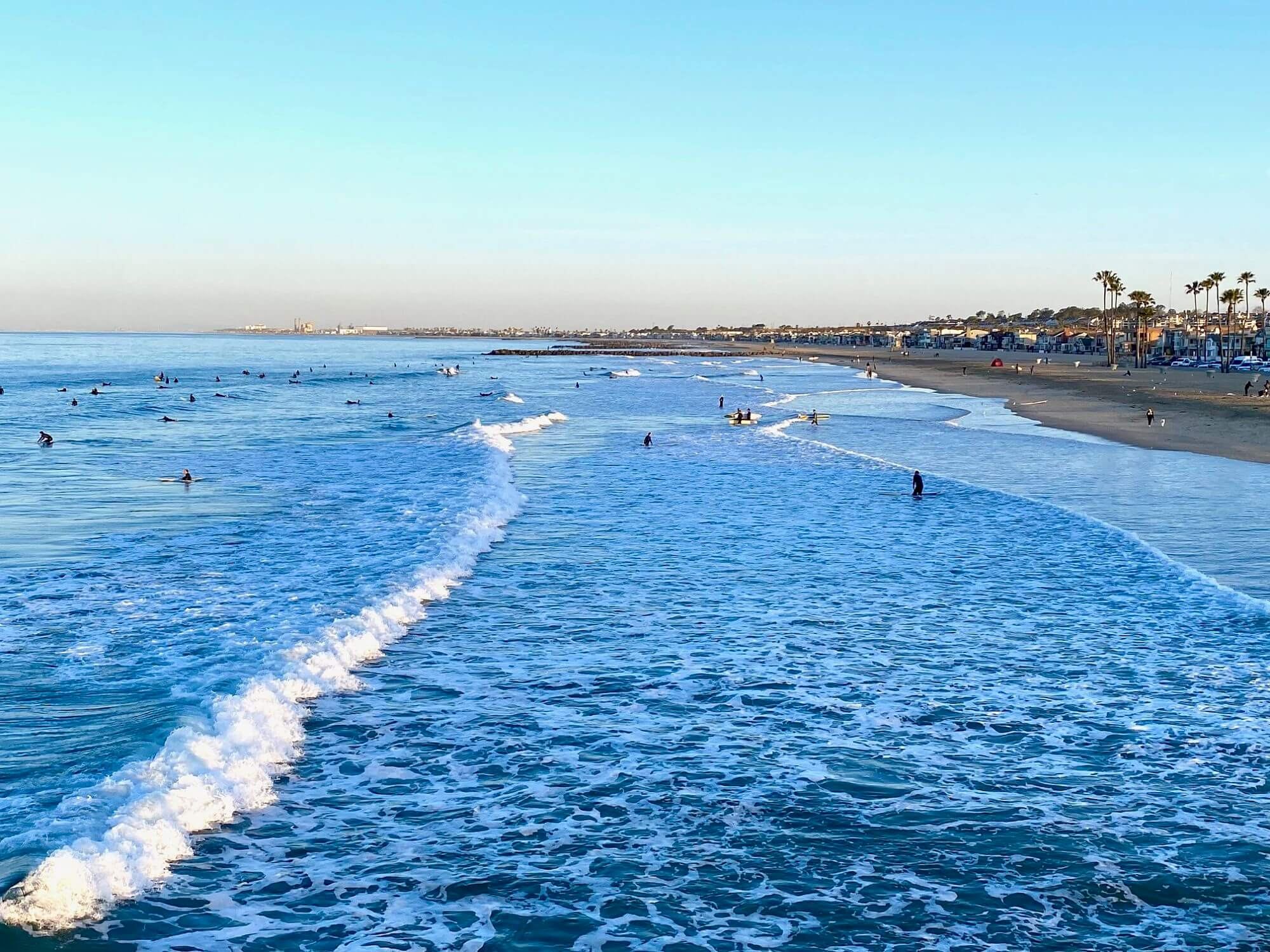 Watching surfers from the Newport Pier