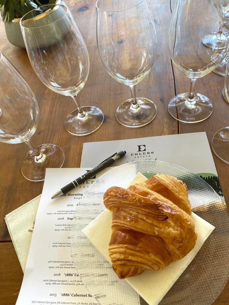 Wine tasting with a croissant