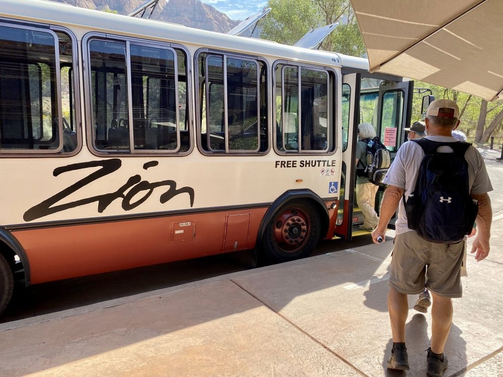 Free shuttle--How To Spend One Day In Zion National Park